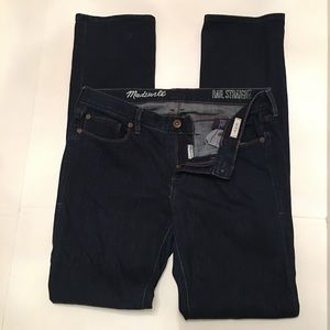 Madewell Rail Straight Deep Indigo Wash Jeans 29